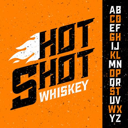 ajenjo: vendimia de la fuente del whisky Disparo caliente con el diseño de la etiqueta de la muestra. Ideal para cualquier diseño de estilo vintage. Vectores