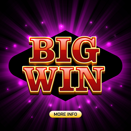 Big Win banner casino games such as poker, roulette, slot machines or card games Illustration