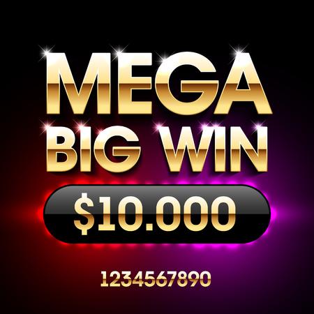 štěstí: Mega Big Win banner na loterii nebo kasinové hry, jako je poker, ruleta, hrací automaty a karetní hry.