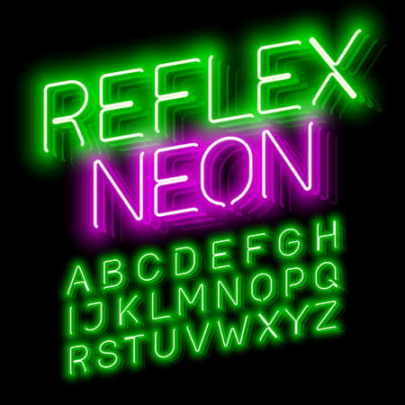 Reflex Neon font illustration design on black Illustration