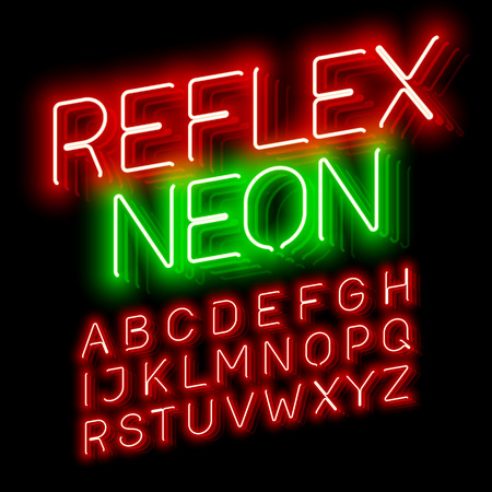 Reflex Neon font illustration design on black Illustration