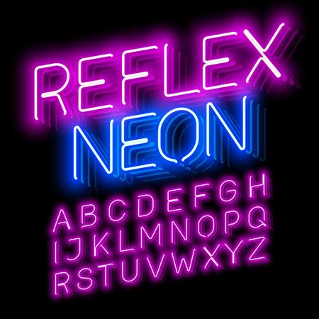반사 네온 글꼴