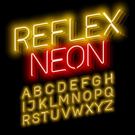 Reflex Neon font illustration design on black