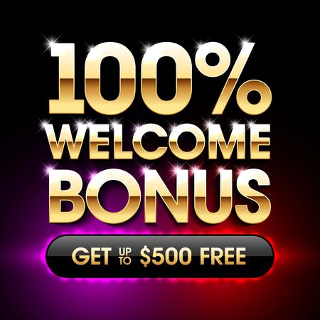 100% Welcome Bonus casino banner, first deposit bonus