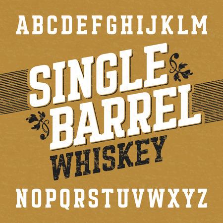 letter: Single barrel whiskey label font with sample design. Illustration