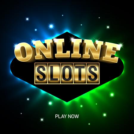 Online gokkasten casino banner, nu spelen Vector Illustratie