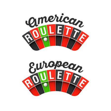 American and European Roulette wheel signs Illustration