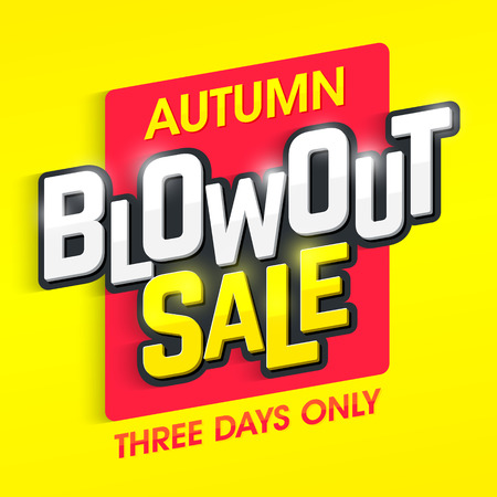 blowout: Autumn blowout sale banner. Special offer, three days only big sale