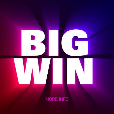 Big Win banner achtergrond voor loterij of casino spellen zoals poker, roulette, speelautomaten en kaartspellen.