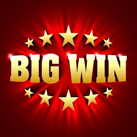 Gran bandera de victorias de lotería o juegos de casino como el póquer, la ruleta, máquinas tragamonedas o juegos de cartas Ilustración de vector