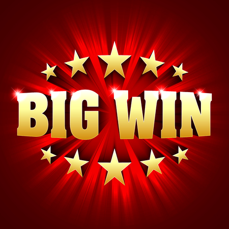 Big Win banner background for lottery or casino games such as poker, roulette, slot machines or card games