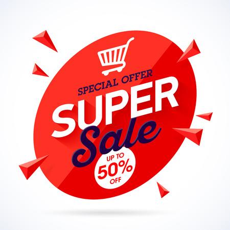 low price: Super Sale special offer banner Illustration