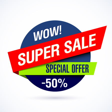 price tag: Wow! Super sale banner