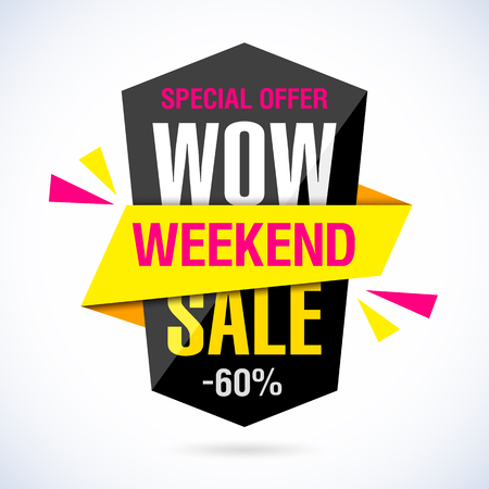 Wow Weekend Sale banner Иллюстрация