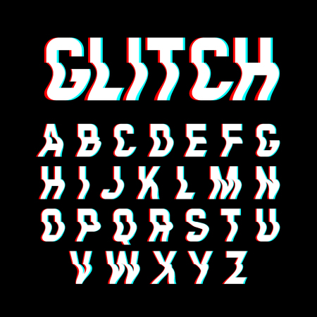 Glitch font with distortion effect Illustration