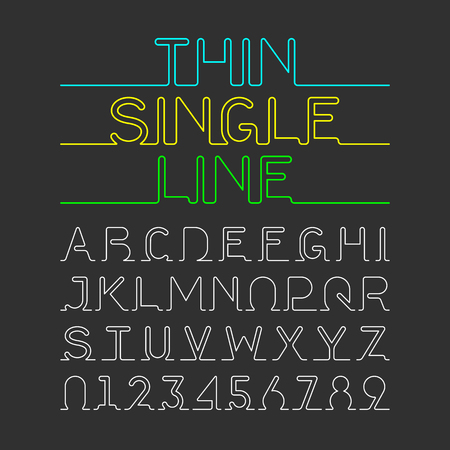 Thin Single Line font. One continuous line modern font, alphabet and numbers.