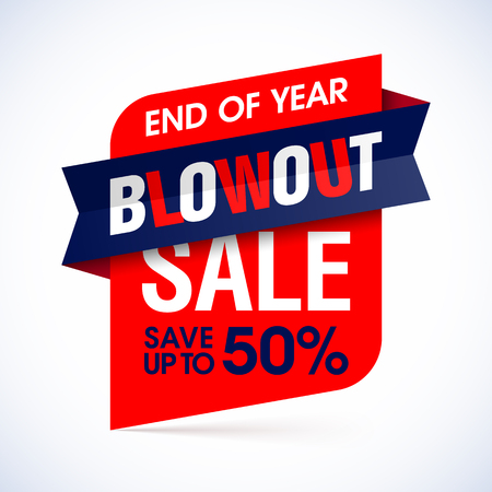blowout: End of year blowout sale banner. Special offer, big sale.