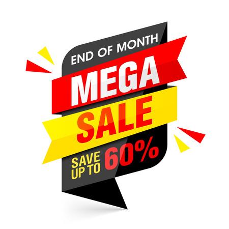 shop sign: End of month mega sale banner. Big sale, special offer. Illustration