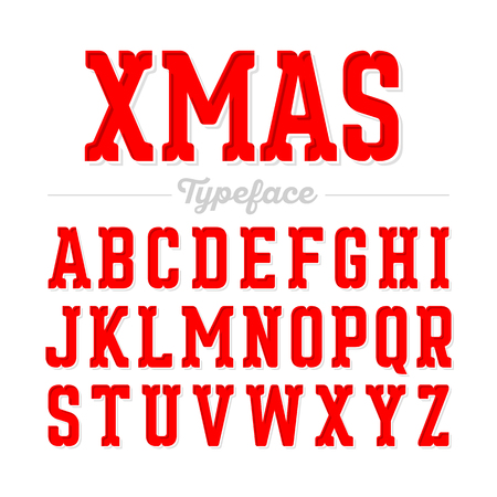 happy new year text: Christmas style font, Xmas typeface Illustration