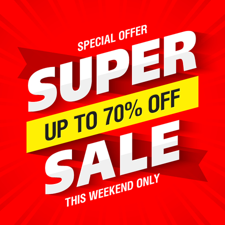 Super Sale banner, this weekend only special offer