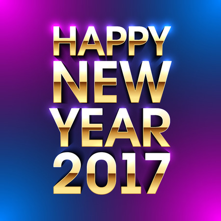 Happy New Year 2017 bright greeting card made of gold letters with reflection.