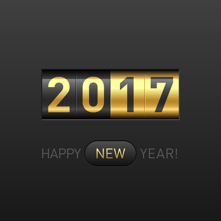 new beginning: Happy New Year 2017 greeting card