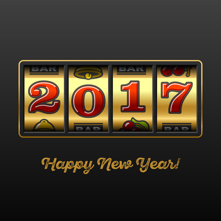 Happy New Year 2017 greeting card with slot machine and lucky 2017 figures, casino theme.