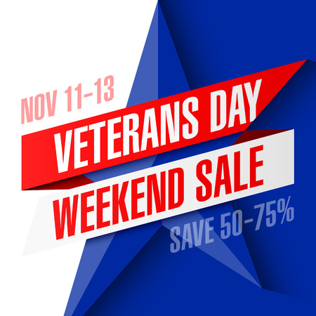 weekend: Veterans Day Weekend Sale banner template Illustration