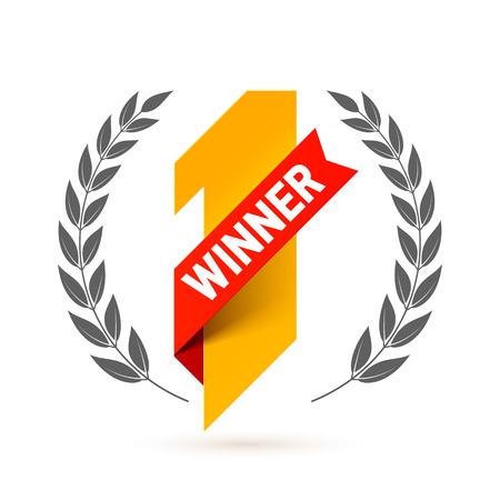 Erster Sieger, Nummer eins Abbildung mit rotem Band und Lorbeerkranz Standard-Bild - 65332314