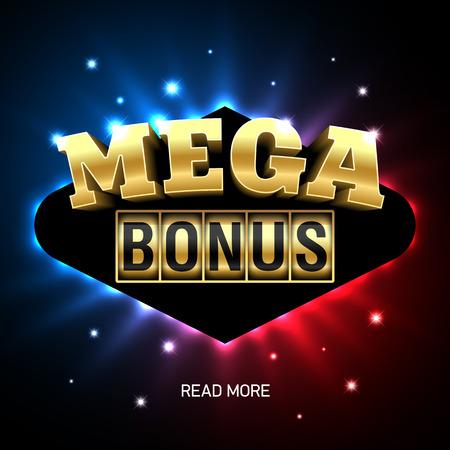 Mega Bonus heldere casino banner Stock Illustratie
