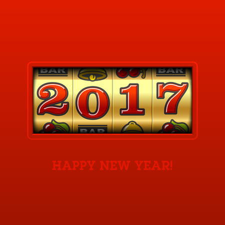 fortune: Happy New Year 2017 greeting card with slot machine and lucky 2017 figures, casino theme