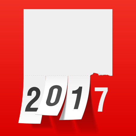 tear: New Year 2017 greeting card. Tear of paper notice, tear off tabs.