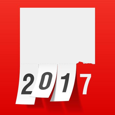 Nieuwjaar 2017 wenskaart. Scheur van document bericht Scheur tabs.