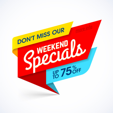 weekly: Weekend Specials sale banner, weekend special offer, big sale.