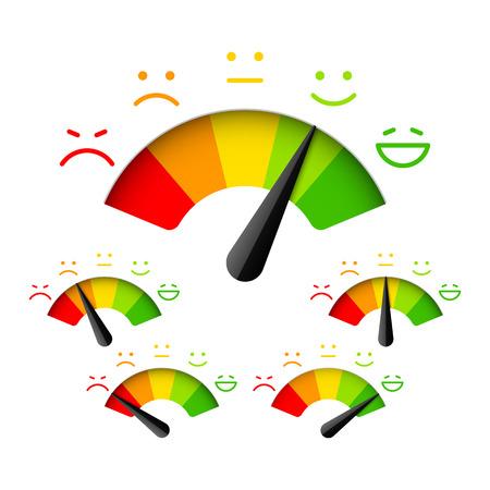 Klanttevredenheid meter met verschillende emoties Stock Illustratie