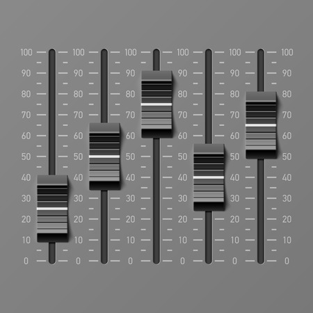 music: Sound mixer console, dj equipment slider buttons