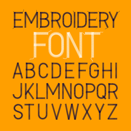 Embroidery font, thin style