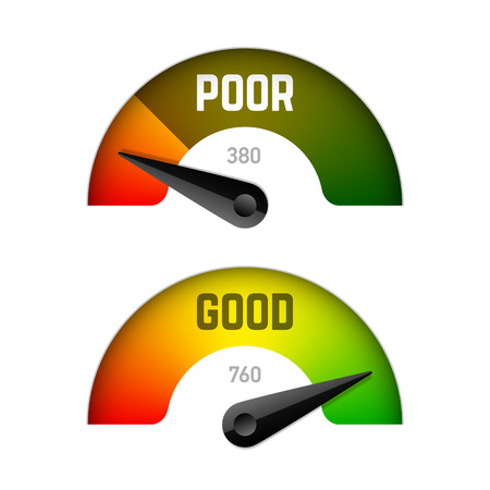 Credit score gauge, poor and good rating Ilustrace