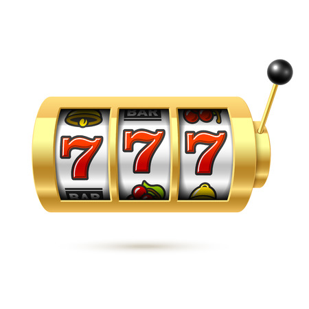 Slot machine with lucky sevens jackpot Stock Illustratie