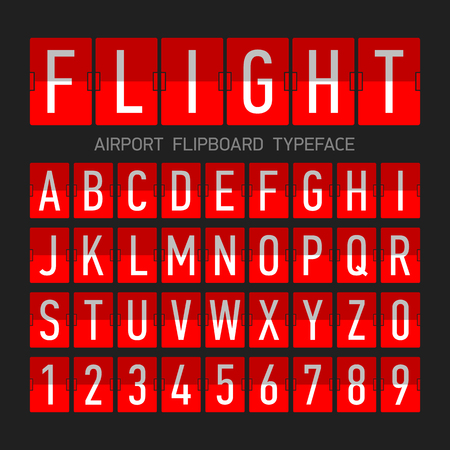 flipboard: Airport flipboard flat style font, mechanical display typeface, letters and numbers Illustration
