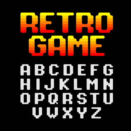video game: Retro pixel video game font