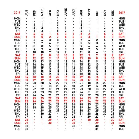 Vertical calendar 2017. Week starts Monday.