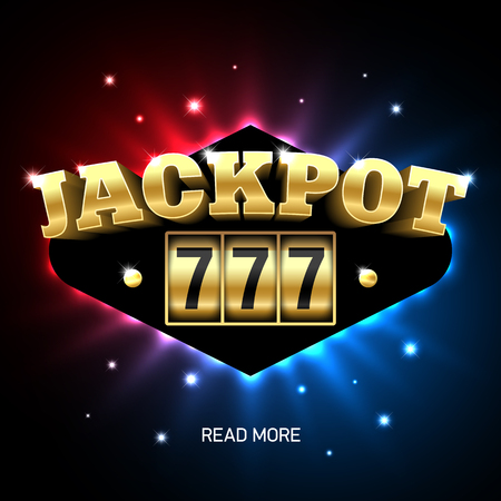 casino machine: Jackpot 777, lucky triple sevens jackpot casino banner Illustration