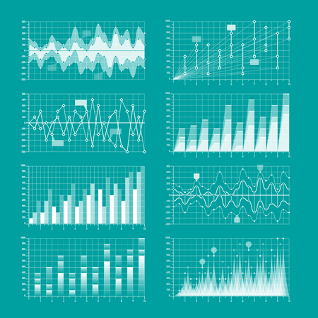 rate: Business statistics, charts and graphs infographic elements