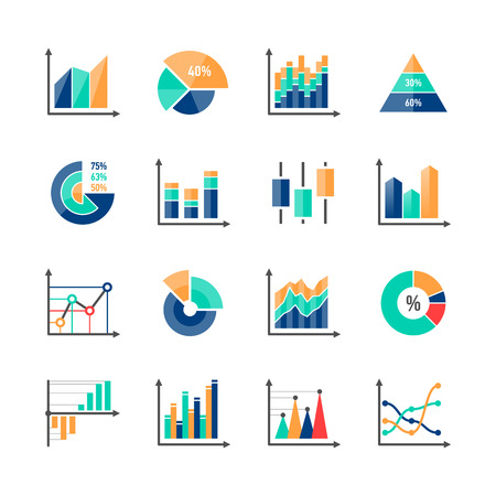 Business data market infographic elements icons set with variety of bar, pie, area charts Vector Illustration