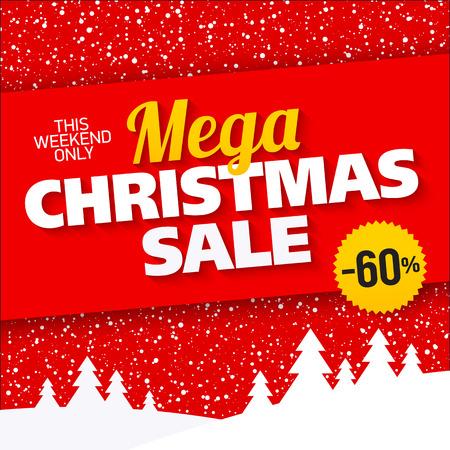 Mega Christmas sale banner Illustration