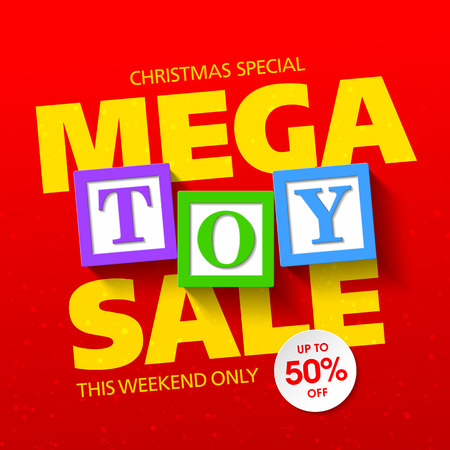 christmas celebration: Mega toy sale banner Illustration