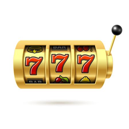 money button: Lucky sevens jackpot on one arm bandit gold slot machine Illustration