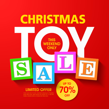discount banner: Christmas toy sale banner
