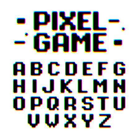 distortion: Pixel Game retro style pixel font with distortion